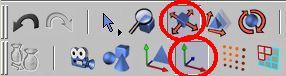 Zapneme posun aktivního prvku a editaci os objektu