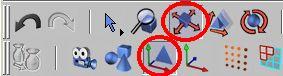 Zapneme editaci objektu k ( modelování ) a posun aktivního prvku. Celý objekt potom přesuneme do středu os v modelačním okně. Pokud si nejste jisti kde se střed nachází můžete si odkrýt objekt Baňka, poté ho opět skryjte.