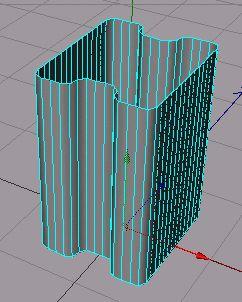 Teď je vidět že objekt má zbytečně mnoho polygonů. Pokusíme se počet polygonů zredukovat.