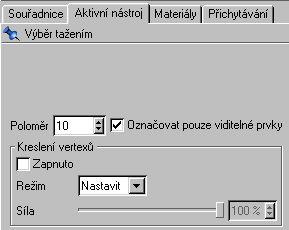 Nastavíme aktivní nástroj tak aby označoval pouze viditelné prvky. ( nebude vybírat skrze objekt )