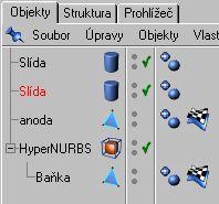 Stiskněte klávesu Ctrl, ve správci objektů uchopte myší objekt Slída a přetáhněte jej  dolů. ( tímto vytvoříme kopii objektu Slída )