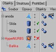 Vypneme vliv Hyper NURBS a zakážeme zobrazení Objektu Baňka