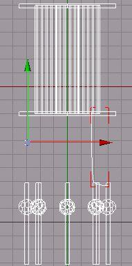 V bočním pohledu nakreslíme linku jako zde na obrázku. Tato linka bude představovat spojení nožiček ( kontaktů ) s vnitřkem elektronky.