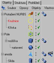 Umístníme Kružnici a Křivku pod vliv Potažení NURBS v pořadí jako na obrázku. ( Kružnice udává informaci o objemu linky která je pod ní )