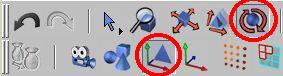Vybereme rotaci aktivního prvku a editaci objektu k ( modelování )