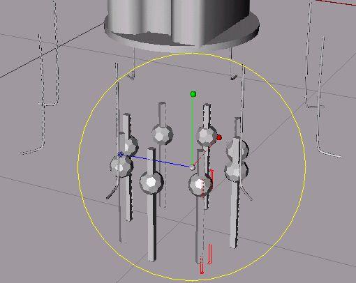 Rotací kolem osy Y upravíme linky tak aby zahnutí linek ve tvaru L směřovalo od středu ven